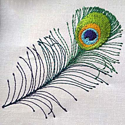 Peacock feather filled machine embroidery design for Embroidery office design version 7 5