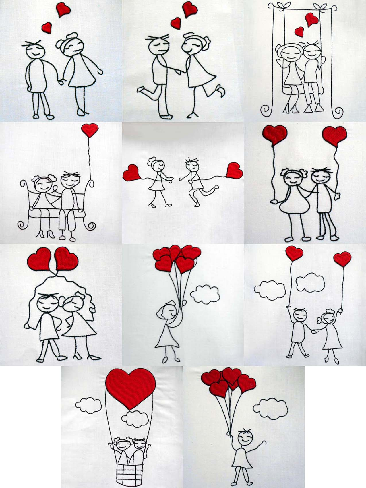Line Art Embroidery : Line art stick love embroidery design
