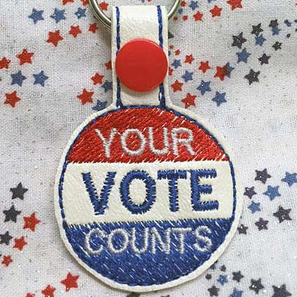 your vote counts key fob machine embroidery design