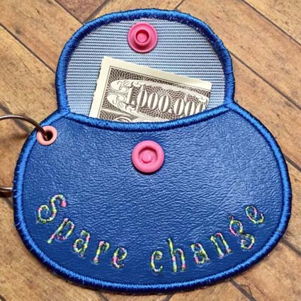 Tiny Wallet Key Tag Machine Embroidery Design