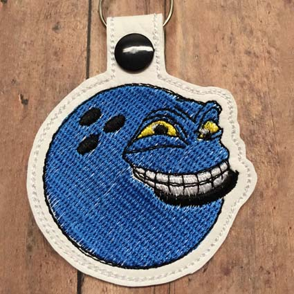 Bowlingball Key Tag Machine Embroidery Design