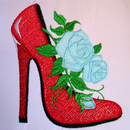 High Heel Rose Machine Embroidery Design