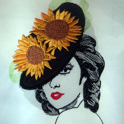Sunflower Lady Machine Embroidery Design