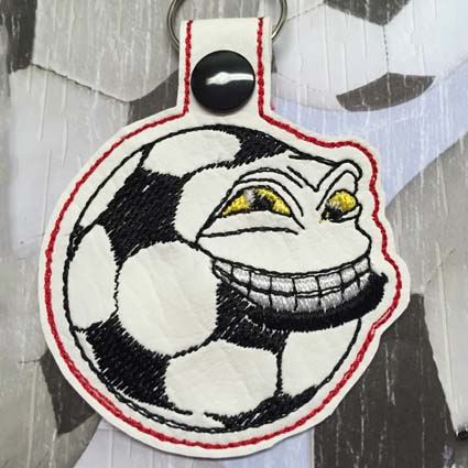 Soccerball Key Tag Machine Embroidery Design