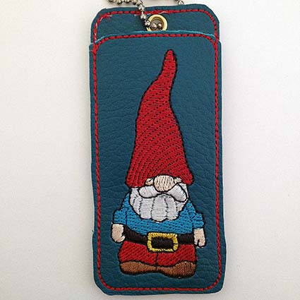 funny gnome chap-stick cover machine embroidery design