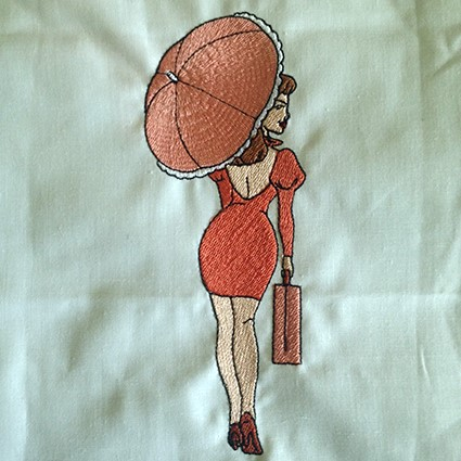 Umbrella Lady Machine Embroidery Design