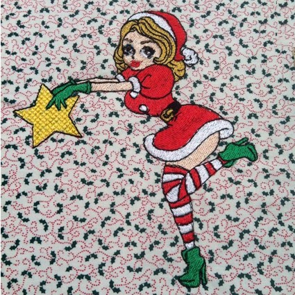 Santa Girl with Star Machine Embroidery Design