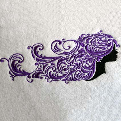 Scroll Lady Machine Embroidery Design