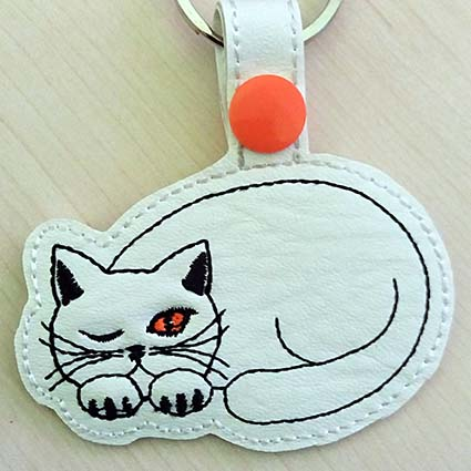 cat key tag machine embroidery design