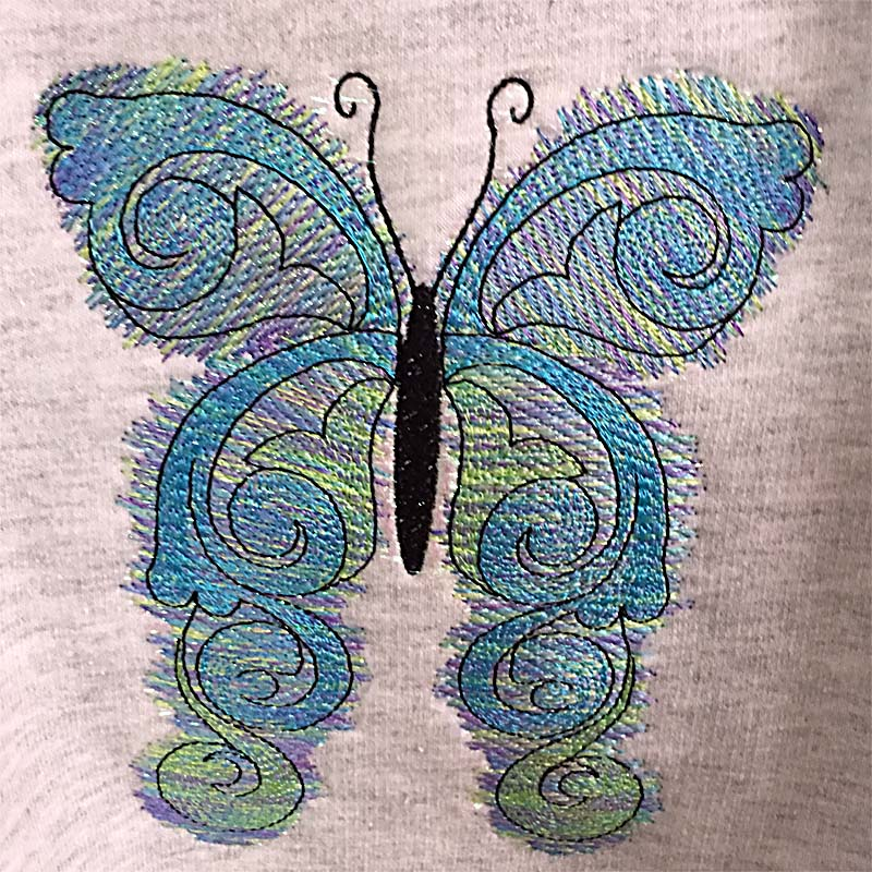 butterfly filled machine embroidery design