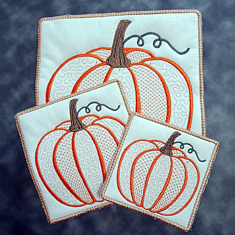 Pumpkin Mug Rug Machine Embroidery Design