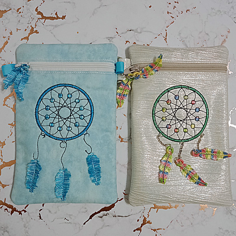 Dream Catcher Zipper Purse Machine Embroidery Design