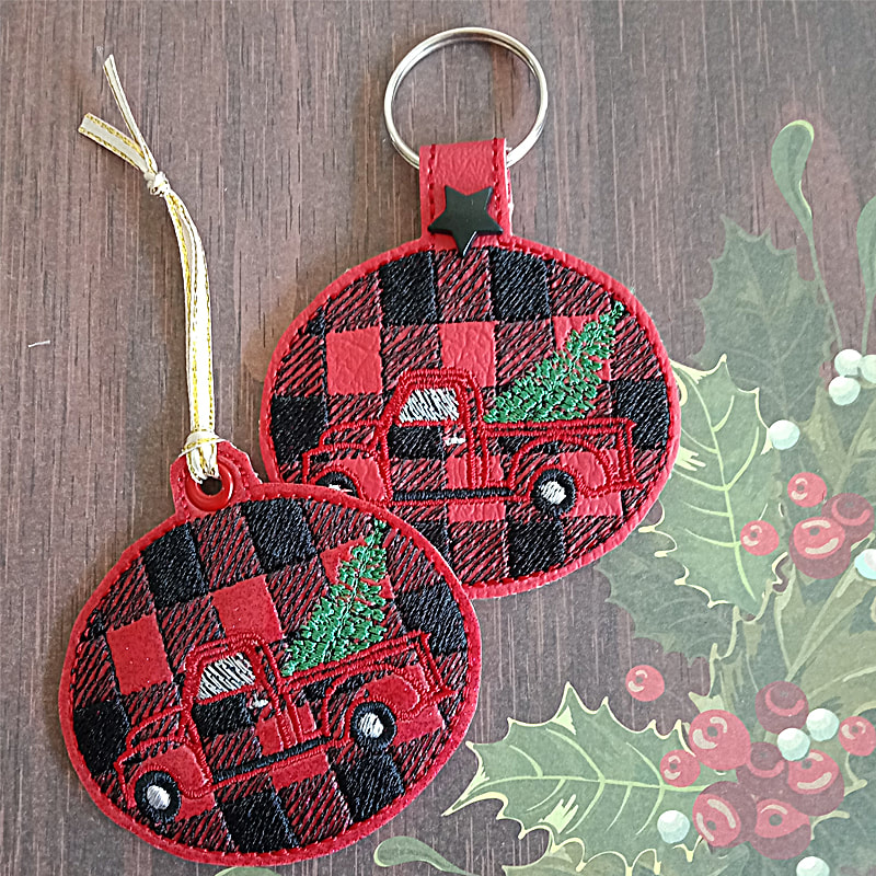 Christmas Truck Key Tag Machine Embroidery Design
