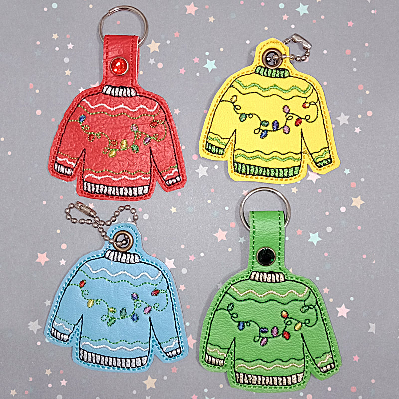Ugly Sweater Key Tag Machine Embroidery Design