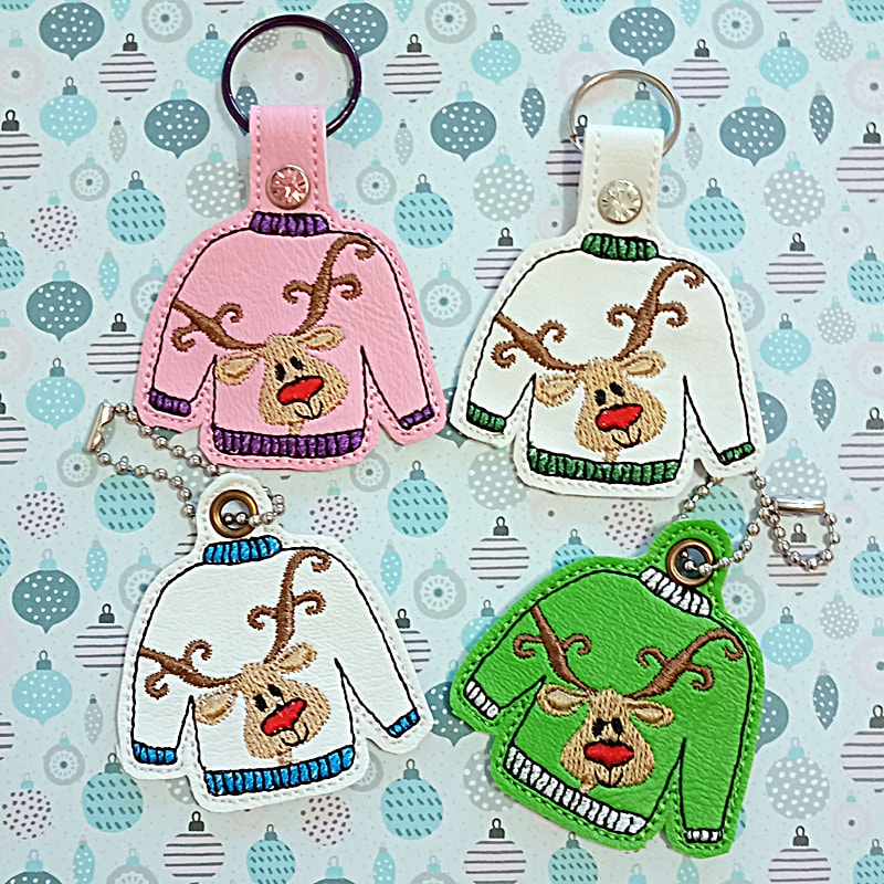 Ugly Reindeer Sweater Key Tag Machine Embroidery Design