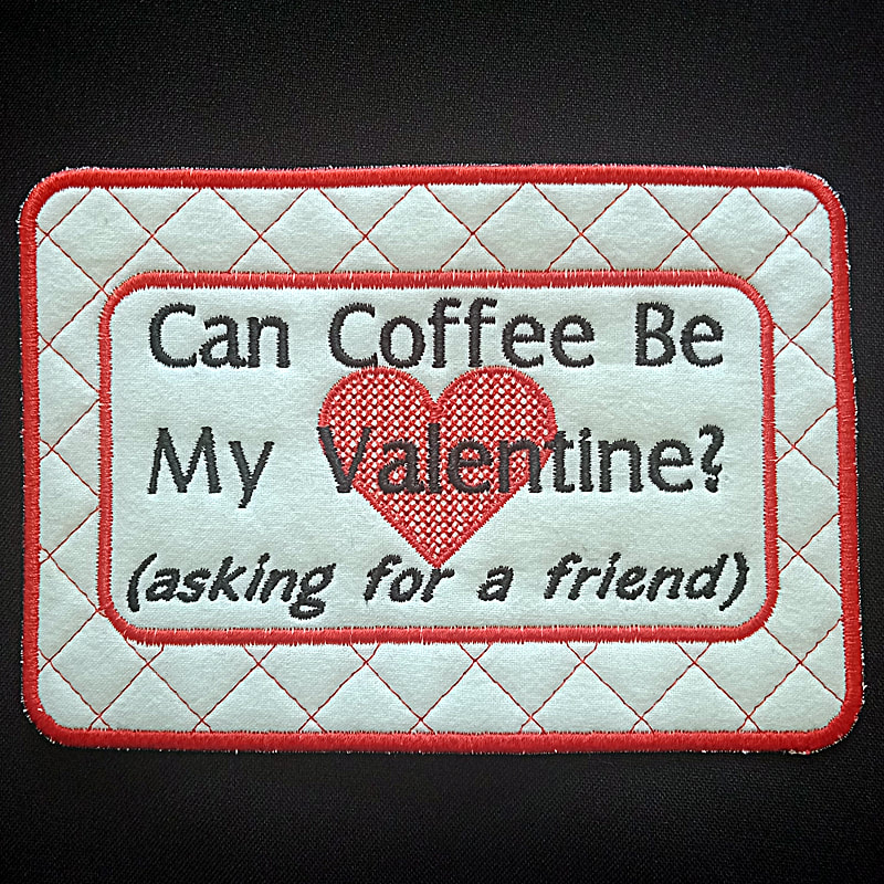Coffee Valentine Mug Rug Machine Embroidery Design
