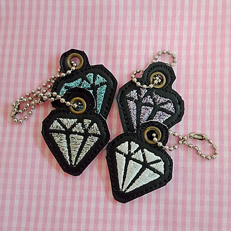 Diamond Key Tag Machine Embroidery Design