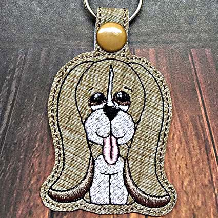 puppy key fob machine embroidery design