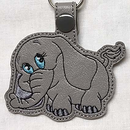 elephant key fob machine embroidery design