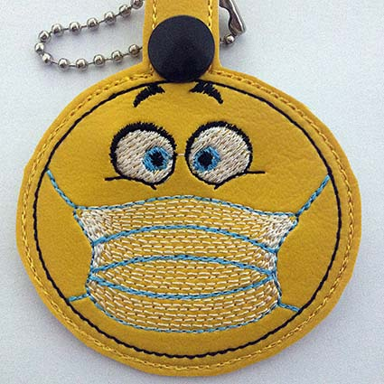 emoji medical key fob machine embroidery design
