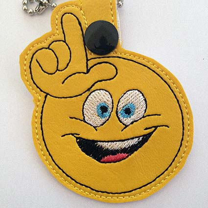 funny emoji Key Fob machine embroidery design