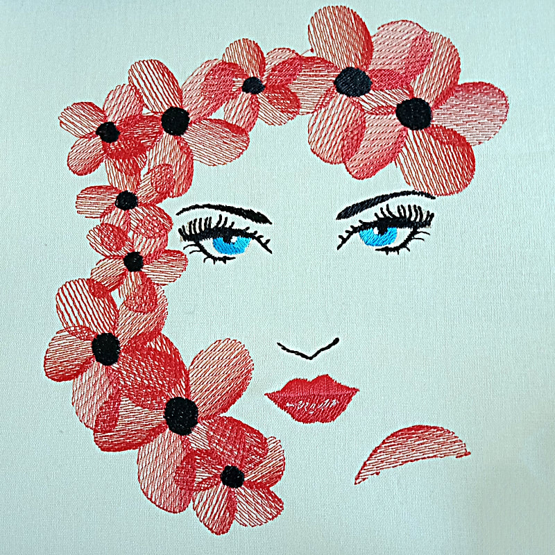 Floral Face Machine Embroidery Design