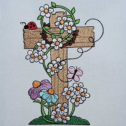 floral cross machine embroidery design
