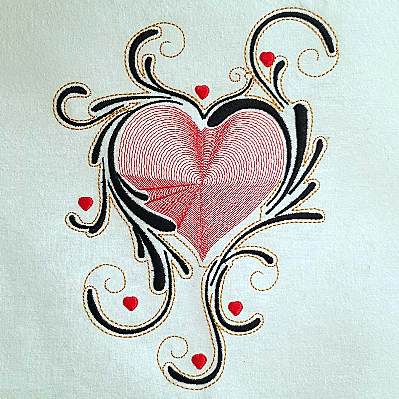 heart scroll valentine embroidery design