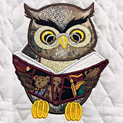 Owl reading pillow embroidery design