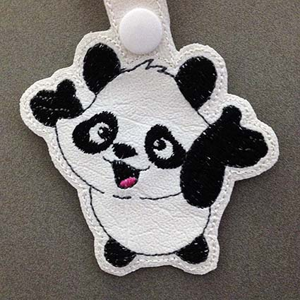 panda key fob machine embroidery design