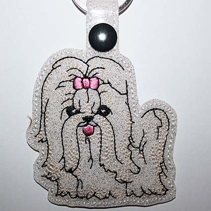 dog key fob machine embroidery designs