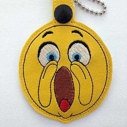 emoji key fob machine embroidery design