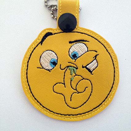 emoji funny Key Fob machine embroidery design