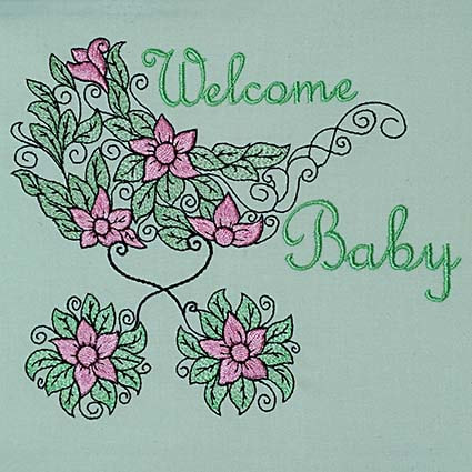 New baby welcome embroidery design